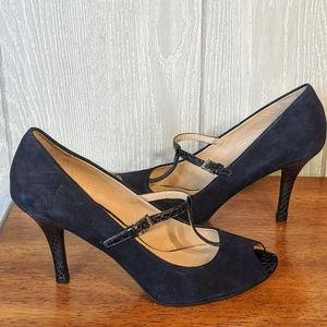 Euc Franco Sarto blue suede peep toe high heels 9M